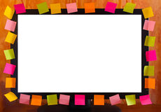 Sticky Notes Screen. LCD monitor with blank sticky notes around it. Can be use a  frame and add text to sticky notes Royalty Free Stock Photography