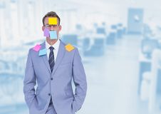 Sticky notes stuck on businessman Royalty Free Stock Image