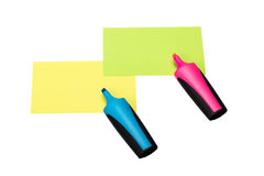 Sticky notes and text markers on white Stock Photography