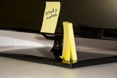 Sticky notes on a tv. Sticky note with 'sticky notes'written on it Stock Image