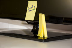 Sticky notes on a tv Stock Image