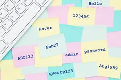 Free Sticky Notes With A Bunch Of The Worst Passwords Stock Photos - 186893033