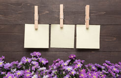 Sticky notes are on the wooden background with purple cutter flo Stock Images