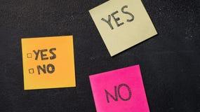 Sticky notes on the blackboard. Sticky notes with Yes and No boxes on the blackboard Stock Images