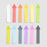 Sticky Office Paper Sheets Notes Pack Collection Set with Shadow  on Transparent Background Vector Illustration Stock Image