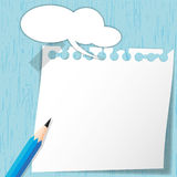 Sticky pad on blue wooden. Backgrounds Stock Photography
