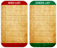 Sticky pad wish list and check list. Form on note old paper Stock Images