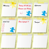 Sticky pads and short note. Sticky pads and important short note message with mark Stock Photography