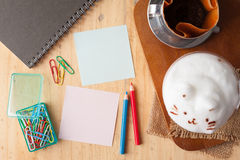 Sticky paper and color pencil stock images