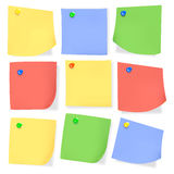 Sticky paper note with color pins Royalty Free Stock Photo