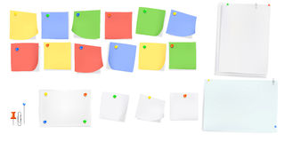 Sticky paper note with color pins. Sticky paper message memo note with color pins and curved angles Stock Photo