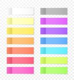 Sticky Paper Notes with Shadow Effect. Blank Color Memo Note Stickers for Posting Isolated on Transparent Background. Vector Illus vector illustration