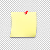 Sticky paper reminder with red pin and shadow Stock Photo
