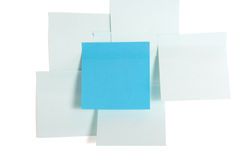Sticky papers. Blue sticky papers isolated on white background Royalty Free Stock Images