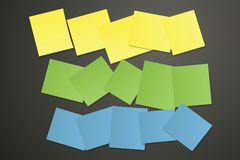 Sticky papers on black Royalty Free Stock Photo
