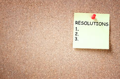 Sticky with the phrase resolutions and blank space for text Royalty Free Stock Photography