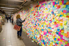 Sticky post-it notes in NYC subway station Stock Image