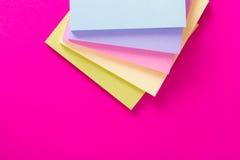 Sticky Posts on Pink Background Stock Photo