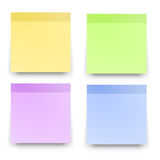 Sticky reminder notes realistic colored papers Stock Images