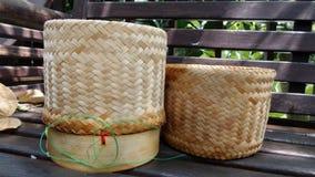 Sticky rice Bamboo basket Royalty Free Stock Photos