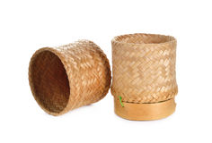 Sticky rice bamboo basket container on white Royalty Free Stock Photo