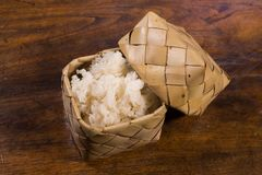 Sticky rice in bamboo box. Traditional thai style. How to serve rice in bamboo container Royalty Free Stock Photography