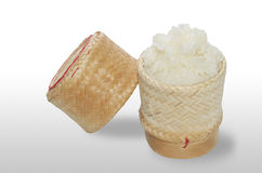 Sticky rice in bamboo container Royalty Free Stock Photography