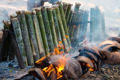 Sticky rice in bamboo. Royalty Free Stock Photo
