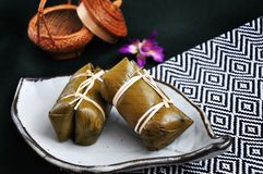 Sticky Rice with Banana Filling royalty free stock images