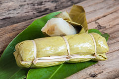 Sticky rice in banana leaf. Thai dessert stock image