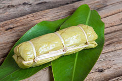 Sticky rice in banana leaf. Thai dessert stock photos