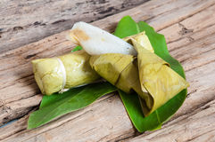 Sticky rice in banana leaf. Thai dessert stock photo