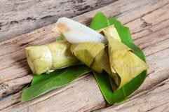 Sticky rice in banana leaf. Thai dessert Stock Photo