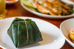 Sticky rice in banana leaf Stock Image
