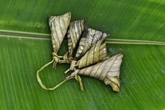 Sticky rice in banana leafe Royalty Free Stock Photography
