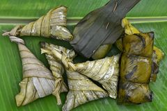 Sticky rice in banana leafe Royalty Free Stock Photo