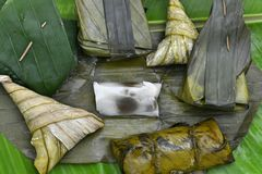 Sticky rice in banana leafe Stock Photo