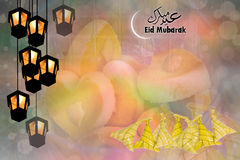 Sticky rice boil wrapped in a triangular shape using the leaves. Of the palm and lamp and cookie for background the season eid mubarak Stock Image