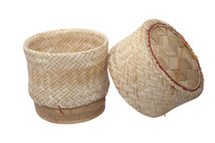 Sticky rice box made from bamboo Wooden Royalty Free Stock Photos