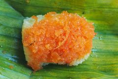 Sticky rice in coconut cream with sweet dried shrimp Royalty Free Stock Image