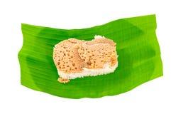 Sticky rice in coconut cream. With thai custard Stock Photos
