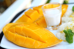 Sticky rice with coconut milk mix and ripe mango. Royalty Free Stock Image