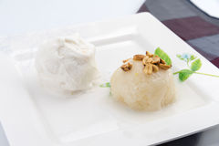 Sticky Rice with coconut milk on top and bean with ice-cream bes Stock Image