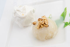 Sticky Rice with coconut milk on top and bean with ice-cream bes Royalty Free Stock Photography