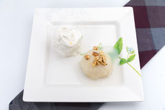 Sticky Rice with coconut milk on top and bean with ice-cream bes Royalty Free Stock Photos