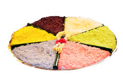 Sticky rice colorful in coconut cream or add coconut juice to glutinous rice Royalty Free Stock Photos