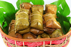 Sticky rice covered in banana leaf Royalty Free Stock Photography