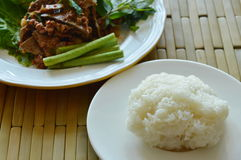 Sticky rice eat couple with spicy minced pork and liver salad Royalty Free Stock Photo