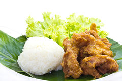 Sticky rice with Fried Chicken Royalty Free Stock Photos