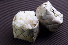 Sticky rice (Glutinous rice) in bamboo container (kratip) Royalty Free Stock Photos